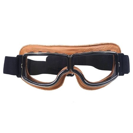 Creme leather cruiser motor goggles clear glass