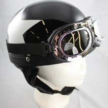 Retro, black half helmet white star