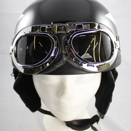 Retro, black half helmet white star