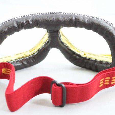 Ediors retro goud, bruin leren motorbril helder glas