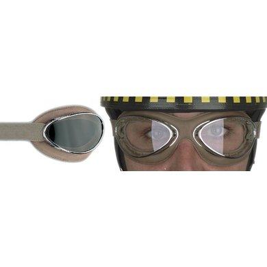Aviator Goggle retro cuir mask chrome, bruin leren motorbril