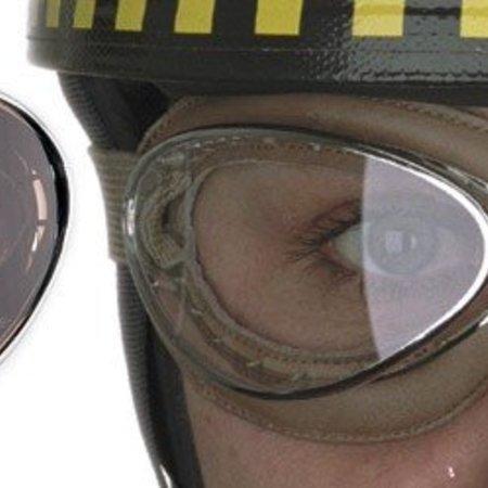 Aviator Goggle retro cuir mask chrome, zwart leren motorbril
