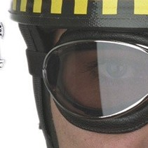 retro cuir chrome, zwart leren motorbril