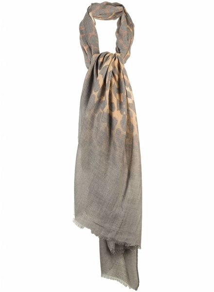 Sjaal panter print grijs/ bruin