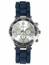 Horloge rubber blauw zilver