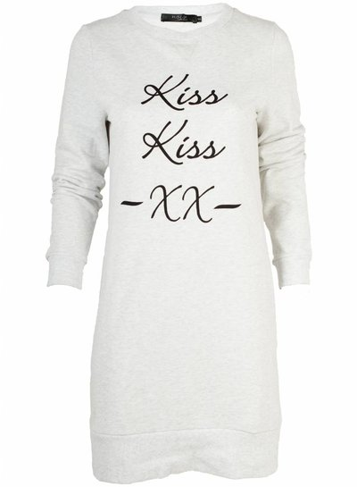 Rebelz Collection Sweater Dress kiss kiss grijs