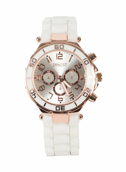 Horloge rubber kopergoud wit
