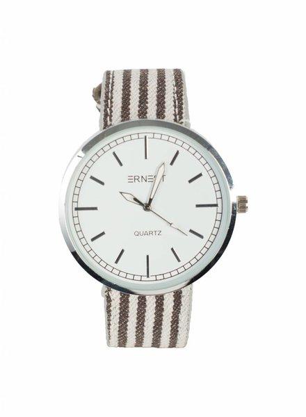 Horloge gestreept bruin/wit