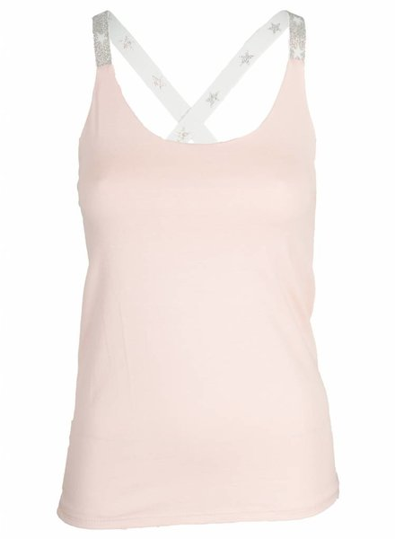 Top kruisband zilver roze