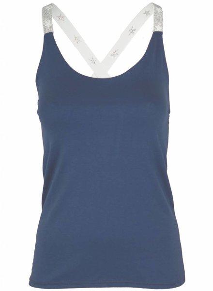 Gemma Ricceri Top kruisband zilver jeansblauw