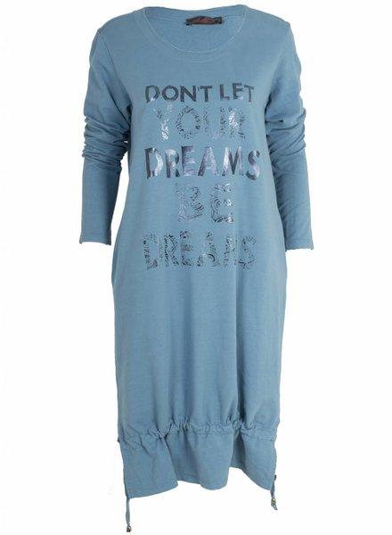 Diverso Sweater dress Dreams blauw