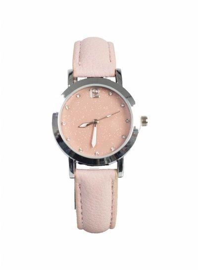 Horloge glitter roze