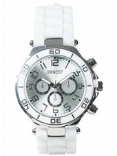 Horloge rubber zilver wit