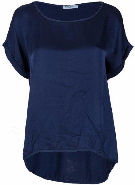 Gemma Ricceri Shirt silk touch donker blauw
