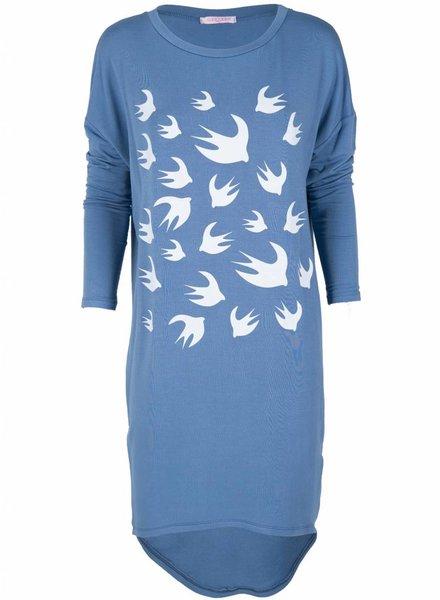 Gemma Ricceri Tuniek Vogelprint blauw