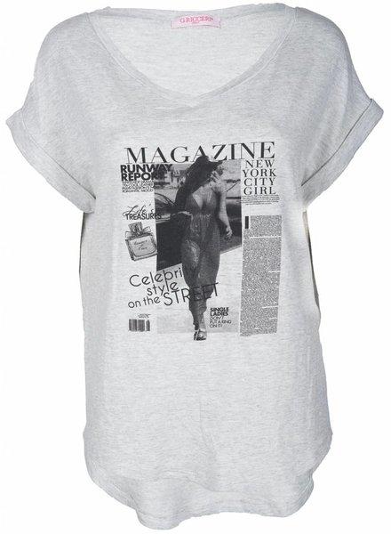 Gemma Ricceri Shirt magazine grijs