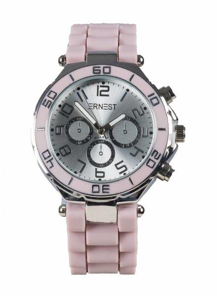 Ernest Horloge rubber zilver oud roze