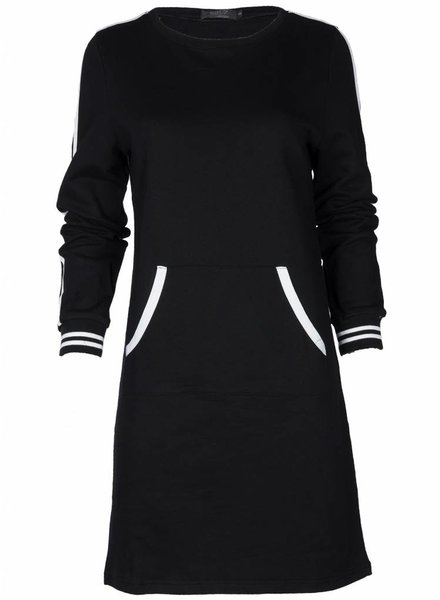 Rebelz Collection Sweater dress Shirley zwart/wit