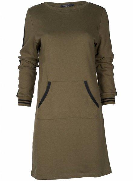 Rebelz Collection Sweater dress Shirley army/zwart