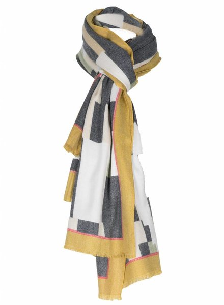 Sjaal Donna geblokt okergeel