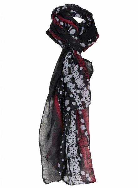 Sjaal Beckie zwart/bordeaux