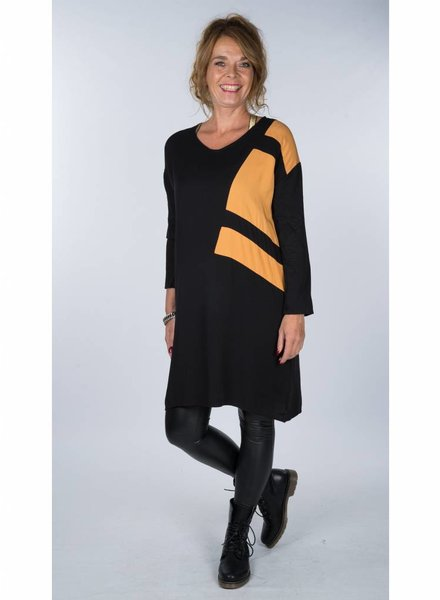 Rebelz Collection Tuniek Nina zwart/okergeel