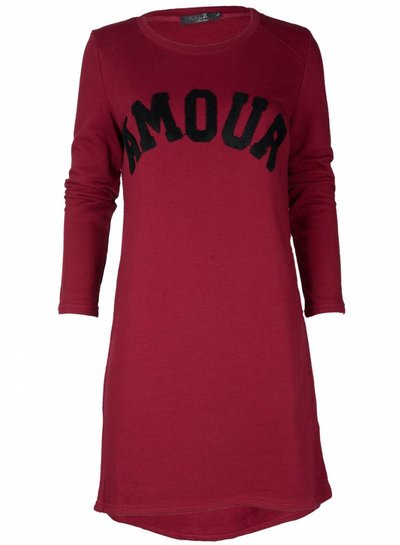 Rebelz Collection Sweater dress Amour steenrood