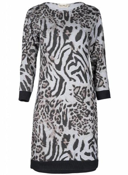 Rebelz Collection Sweater dress Panterprint grijs