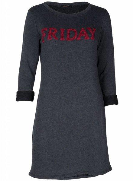 Gemma Ricceri Sweaterdress Friday grijs/rood