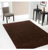 Goedkoop hoogpolig tapijt in donkerbruine kleur