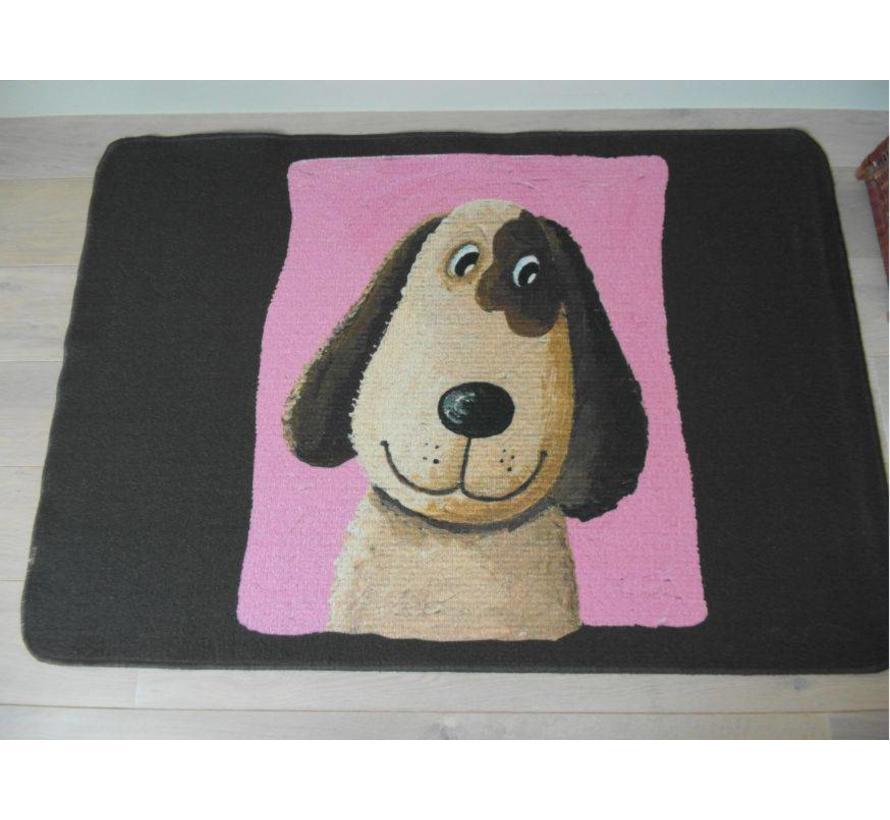 Tapis enfant brun/roze avec chien