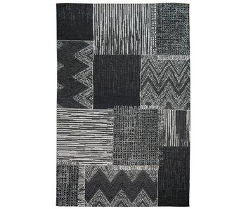 Retro vloerkleed grijs en zwart