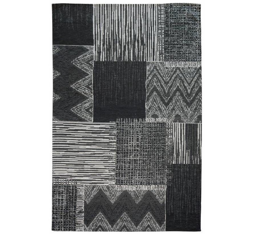 Tapis kilim vintage gris-noir