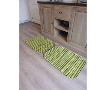 Groene badmatten met print