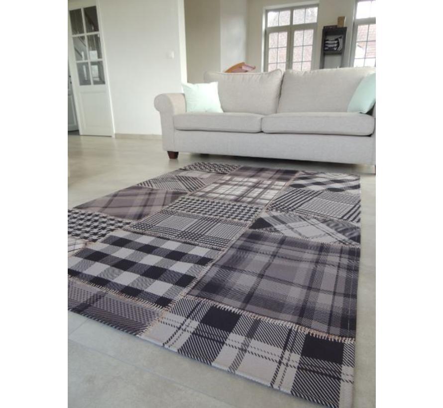 Tapis salon patchwork gris-noir 140x200cm