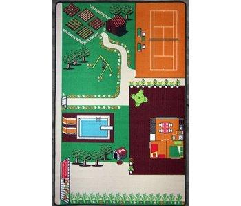 Groot tapijt met vakantiehuis