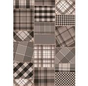 Tapis salon patchwork gris-noir