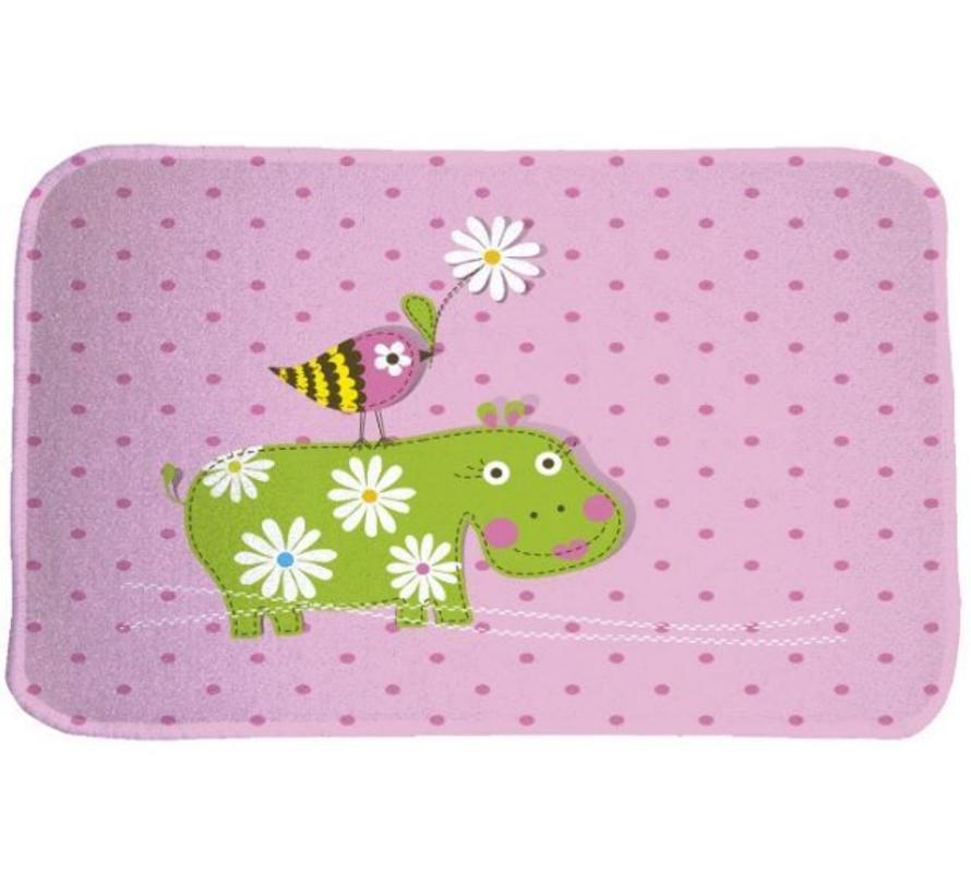 Tapis chambre enfant rose avec hippopotame