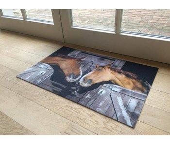 Deurmat met print van paarden