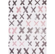 Kindertapijt grijs met roze kruisjes