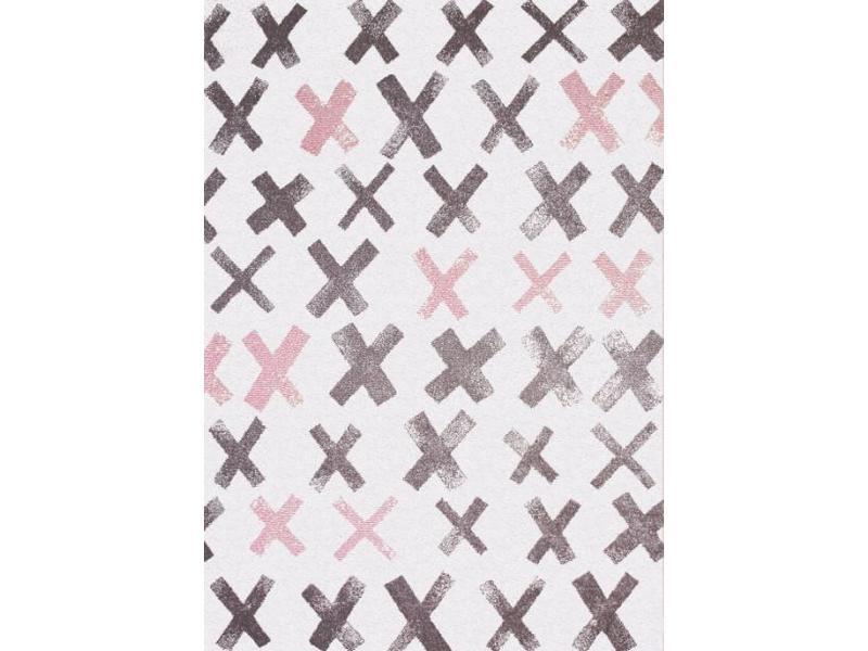 Grijs en roze design tapijt voor kinderkamer 120x170 - Kinderkamer grijs en roze ...