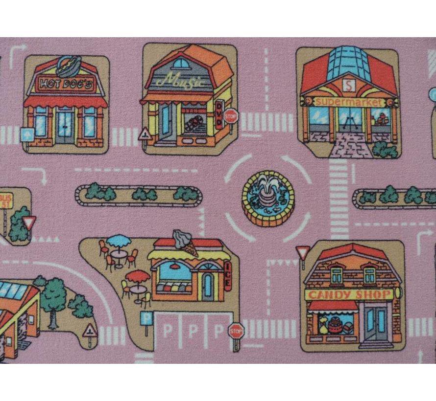 Tapis de jeux routier rose