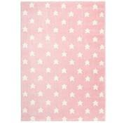 Kindertapijt roze met witte sterren