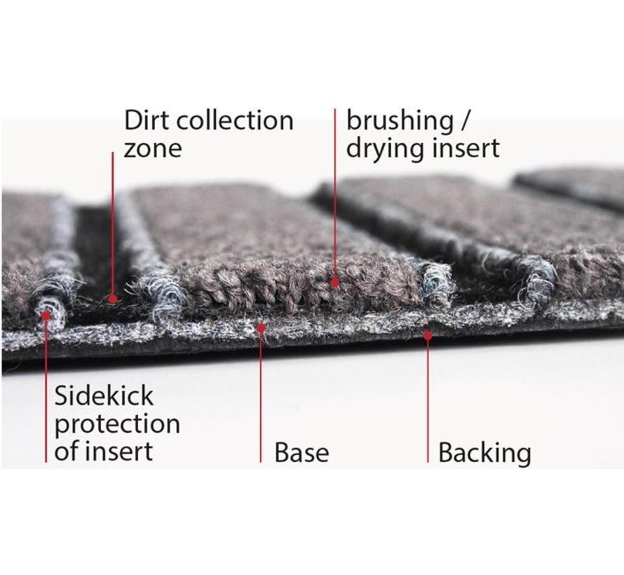 Entreemat plankenformaat antraciet en aluminiumstrips