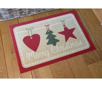 Kerstmat met print MERRY CHRISTMAS