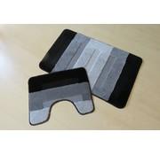 Set tapis de bain en couleurs gris et noir