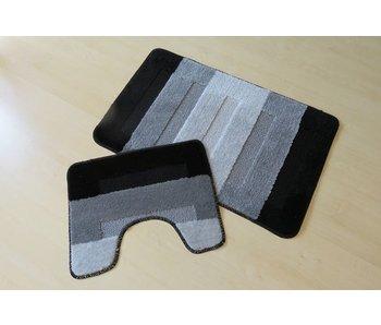 Badmattenset in kleurcombinatie van grijs en zwart