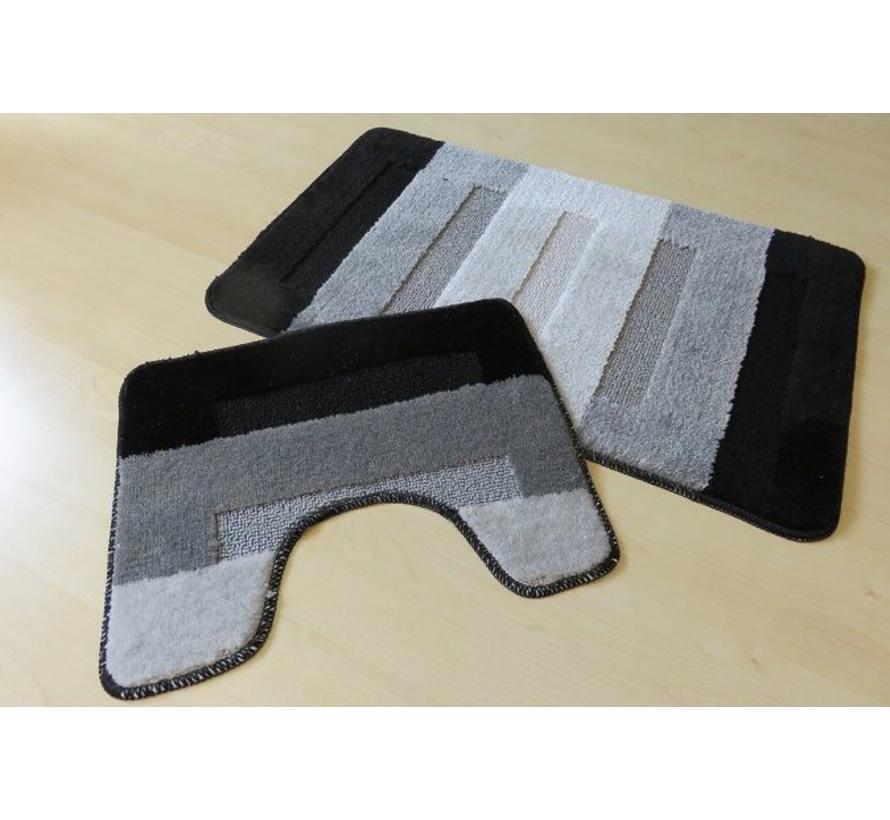 Badmat set zwart/grijs