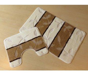 Set tapis de bain en couleurs ivoire et brun