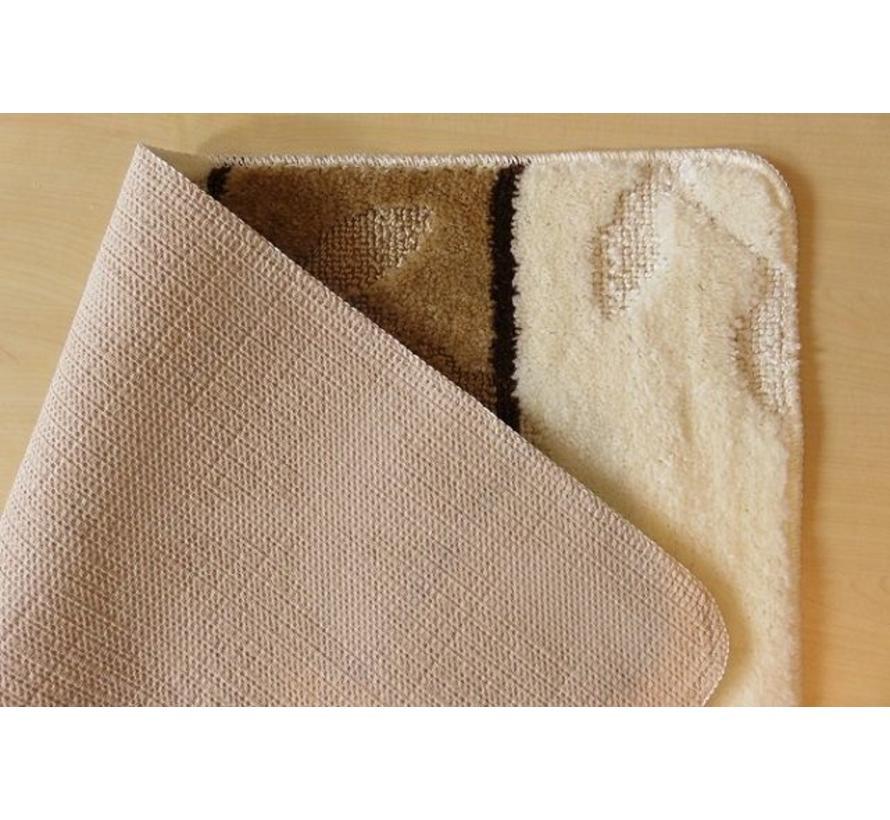 Set tapis de bain en teintes ivoire et brun